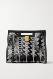 Balmain 1945 leather-trimmed jacquard tote