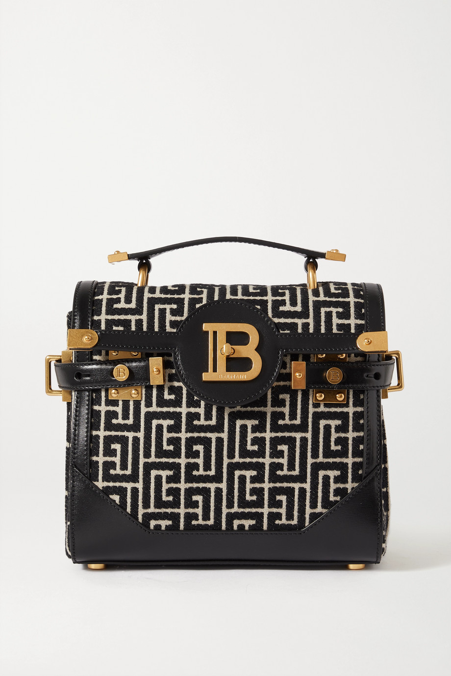 Balmain B-Buzz 23 leather-trimmed jacquard shoulder bag
