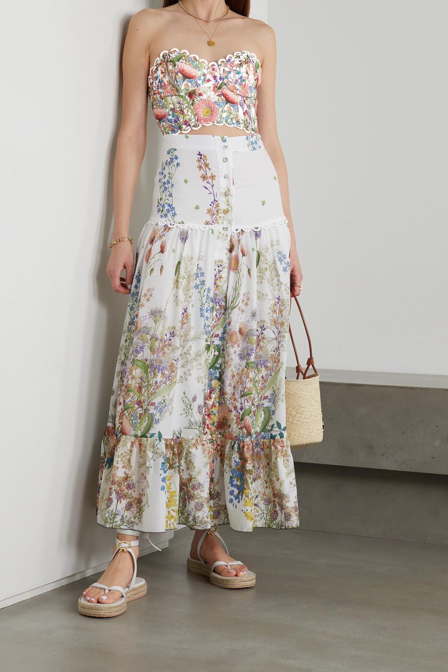 Charo Ruiz Lita strapless picot-trimmed floral-print cotton top