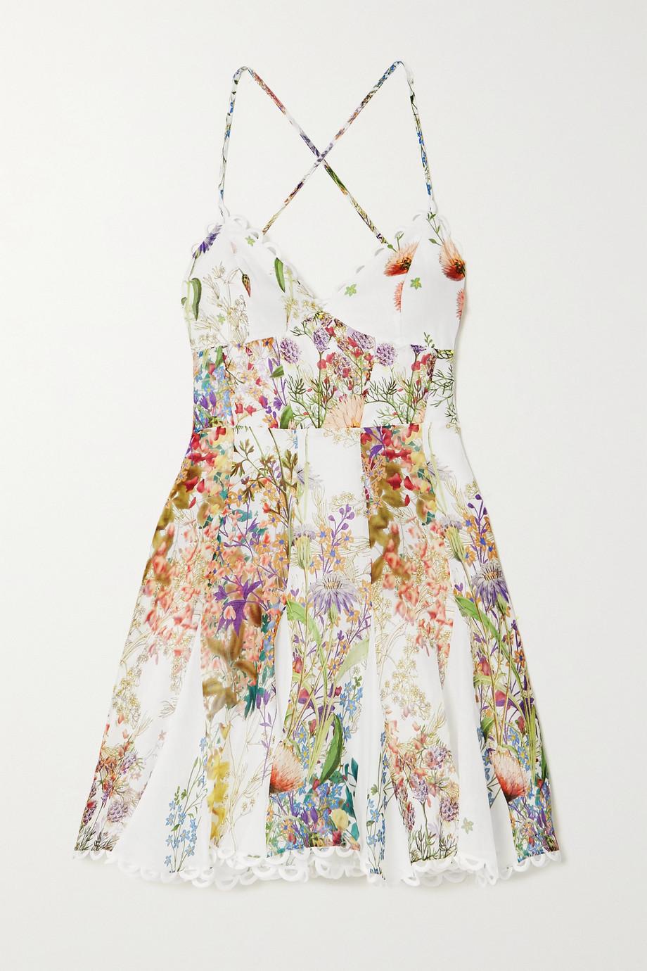 Charo Ruiz Marlene crochet-trimmed floral-print cotton mini dress