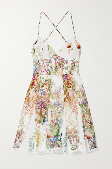 Charo Ruiz Cottons MARLENE CROCHET-TRIMMED FLORAL-PRINT COTTON MINI DRESS