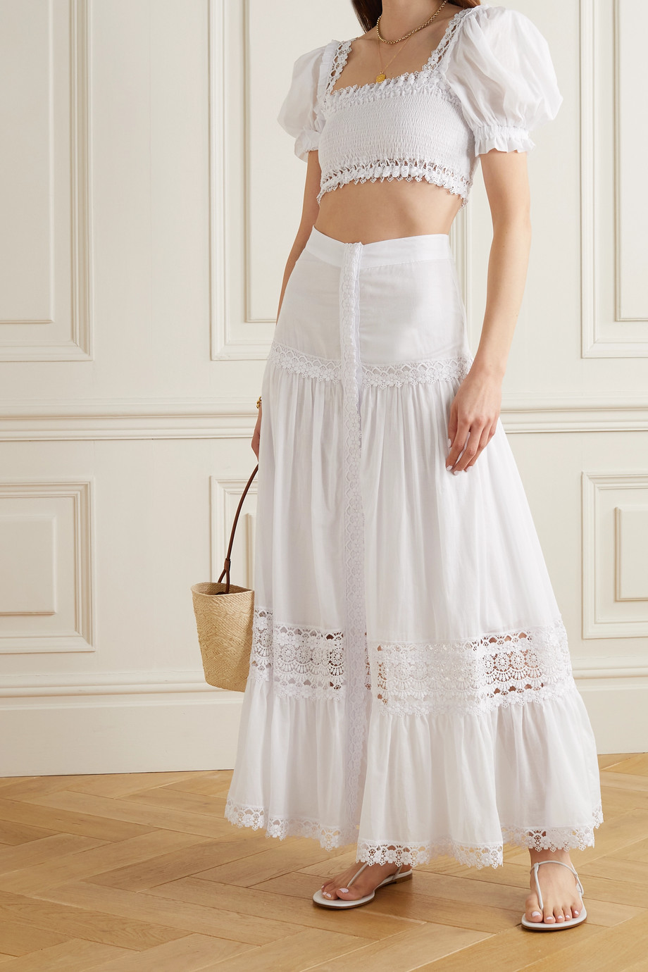 Charo Ruiz  Judy cropped crochet-trimmed shirred cotton-blend voile top