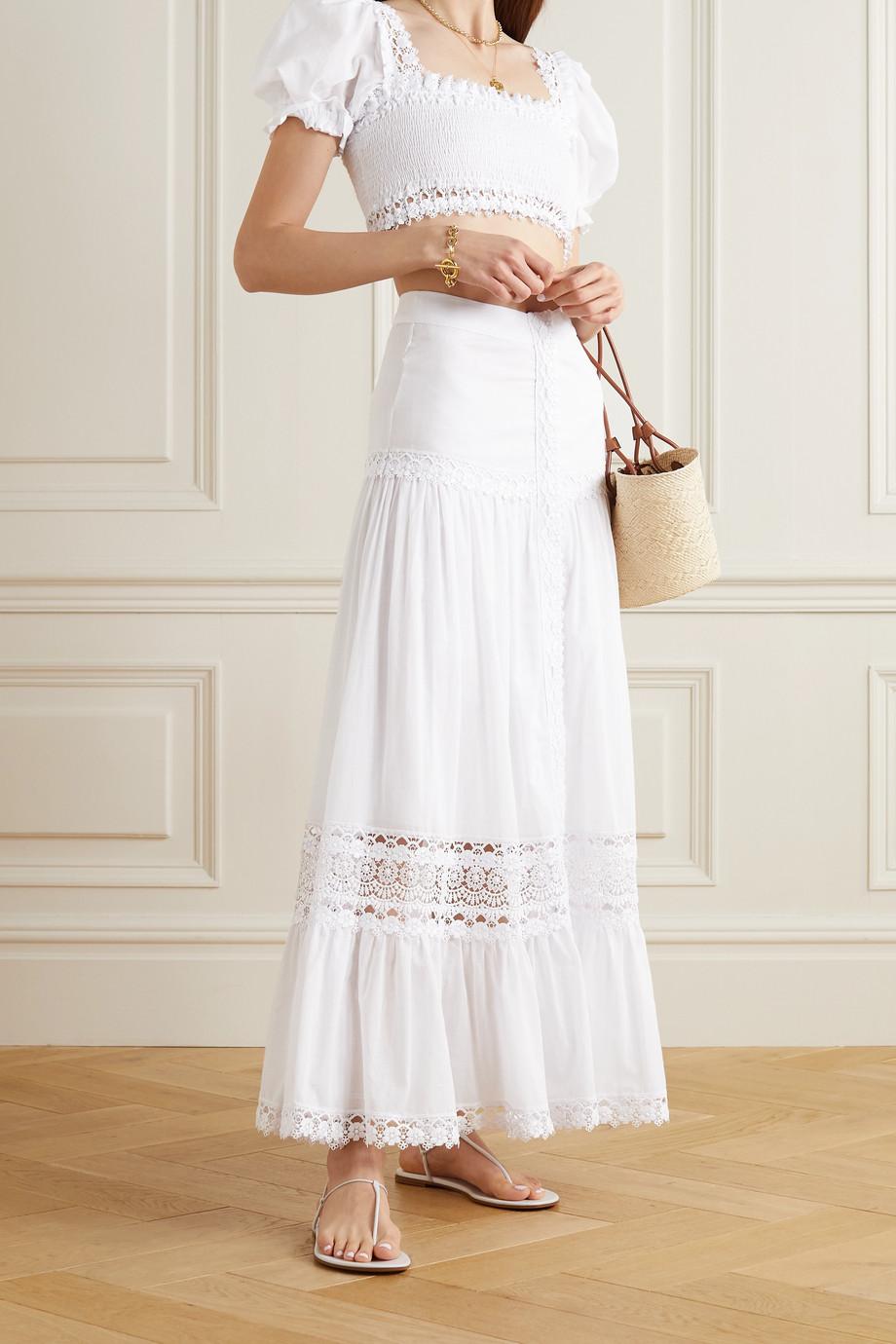 Charo Ruiz Ann guipure lace-trimmed cotton-blend voile skirt