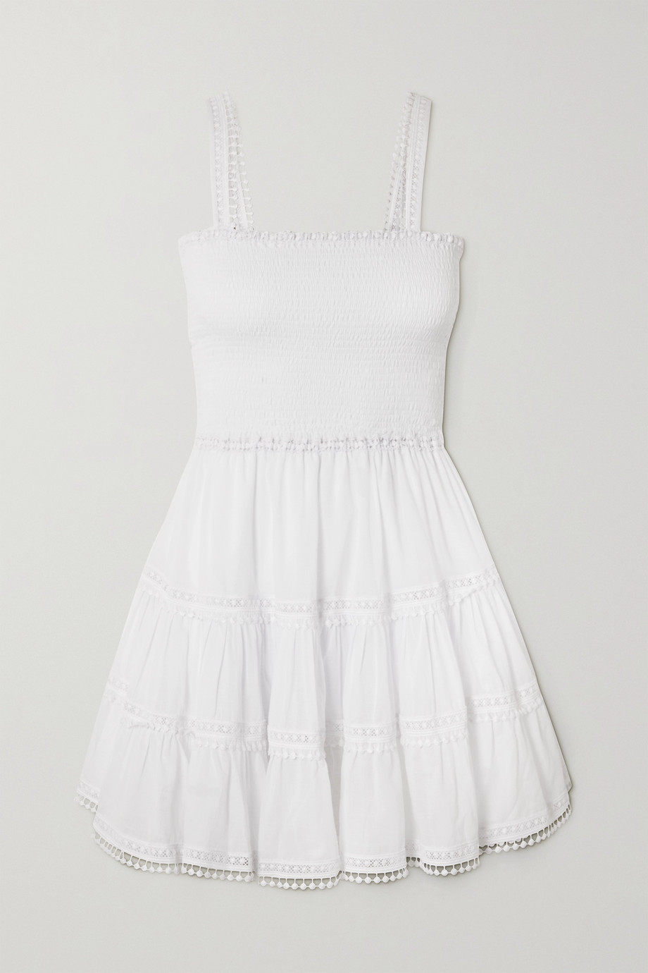 Charo Ruiz Stelle shirred crochet-trimmed cotton-blend voile mini dress