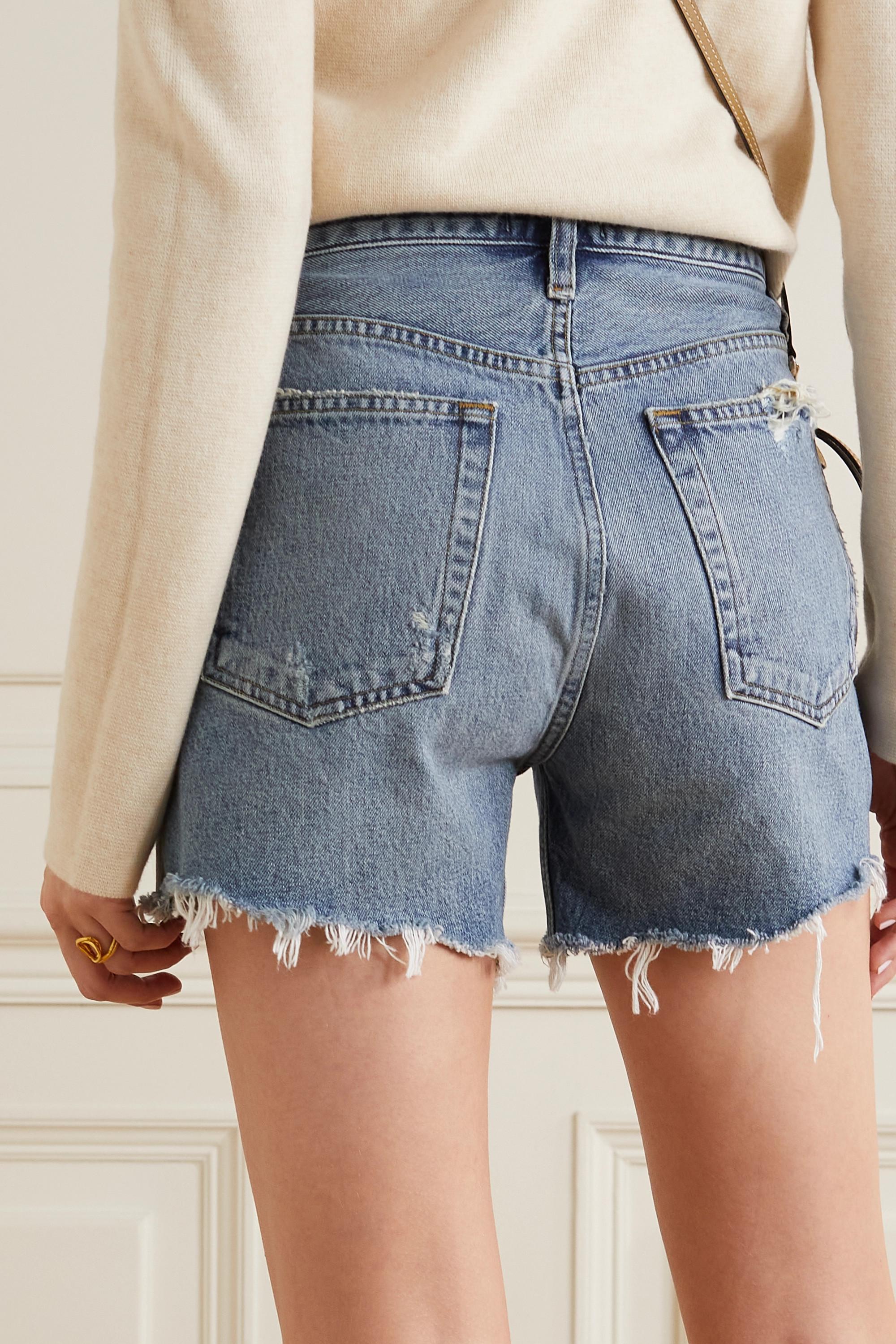 AGOLDE Riley distressed organic denim shorts
