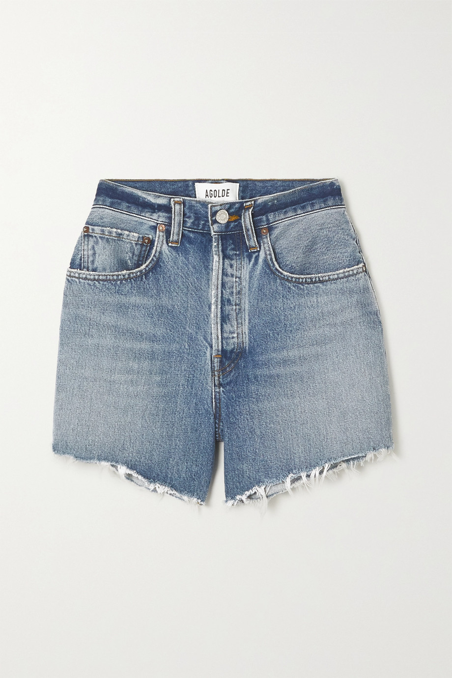 AGOLDE Riley distressed organic denim shorts