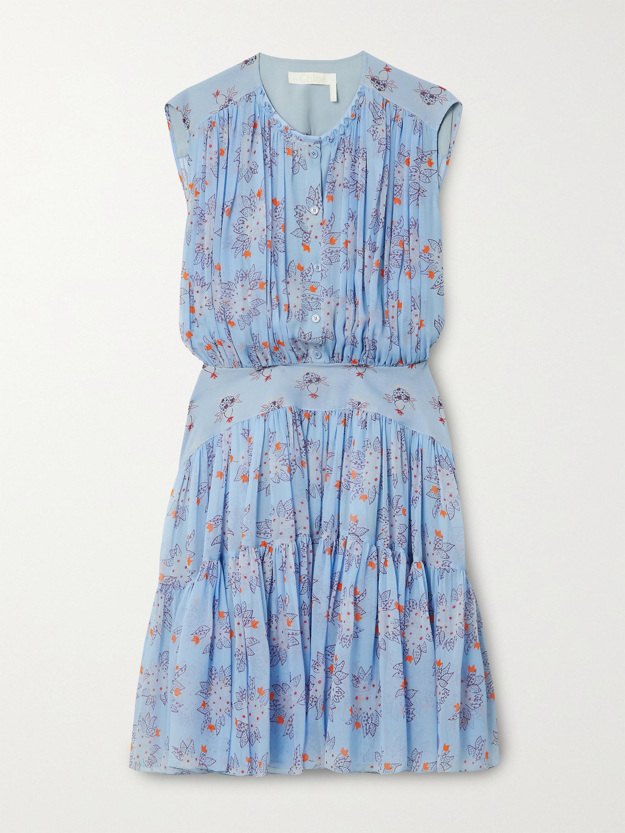 Chloé Minikleid aus Seiden-Georgette mit Blumenprint und Raffungen