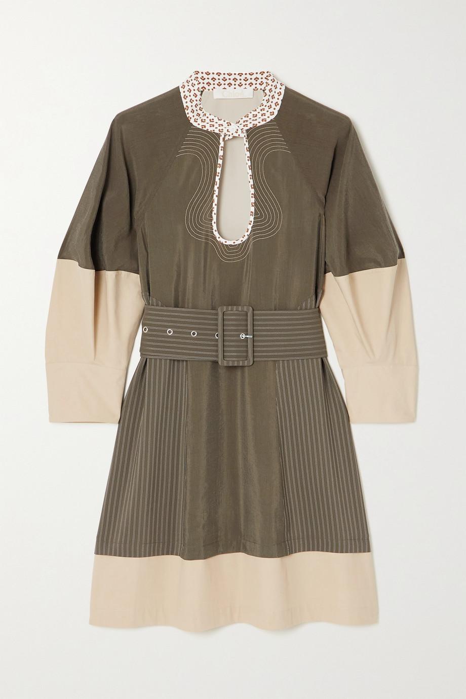 Chloé Mini-robe en soie mélangée et en popeline de coton à ceinture