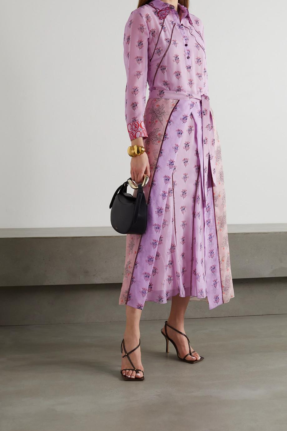 Chloé Robe-chemise midi en mousseline de soie à imprimé fleuri et à ceinture
