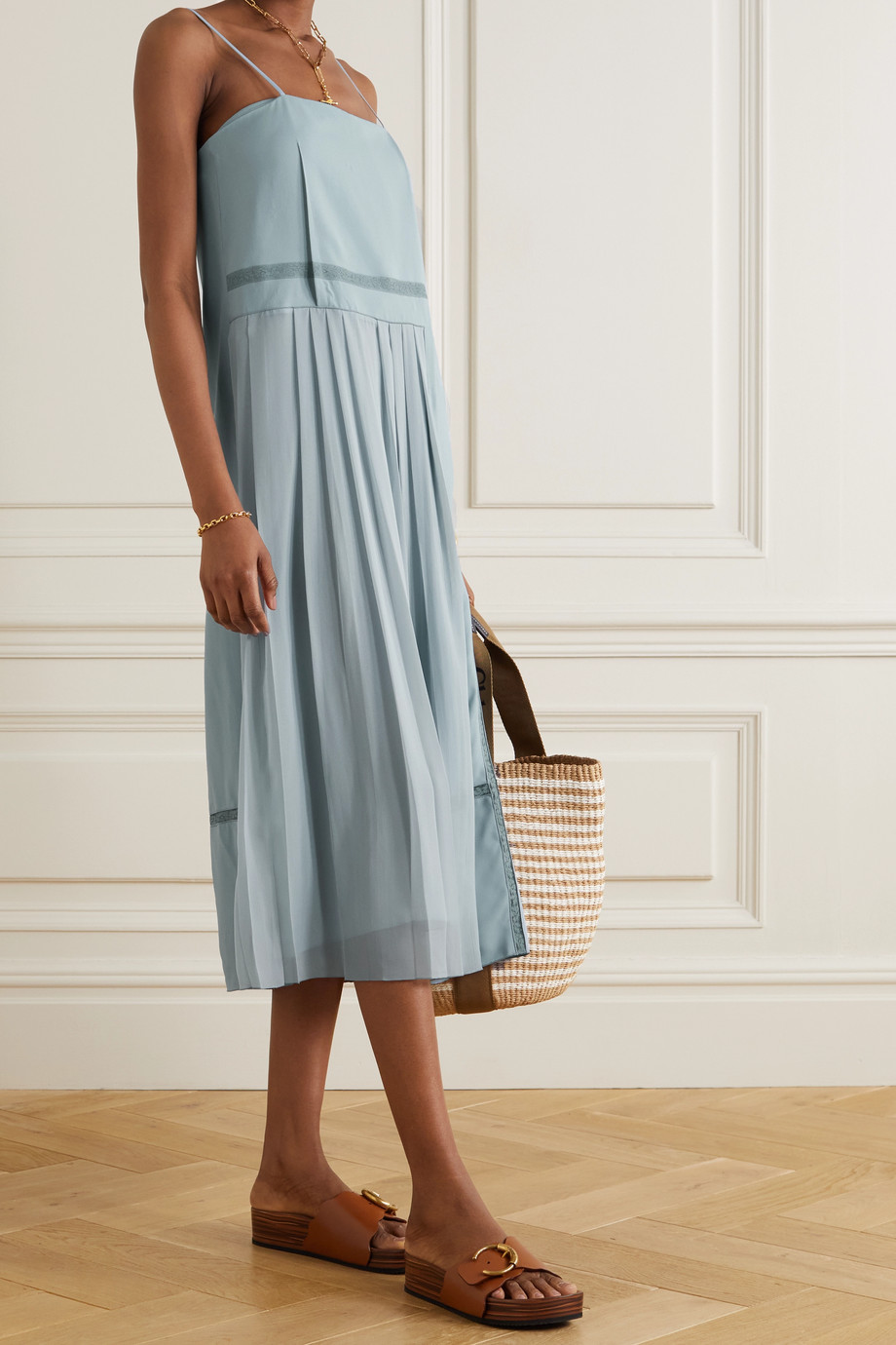 Chloé Lace-trimmed crepe and pleated chiffon midi dress
