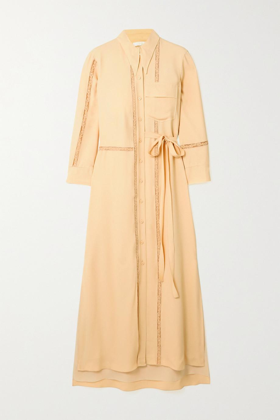 Chloé Robe-chemise midi en crêpe à finitions en dentelle et à ceinture
