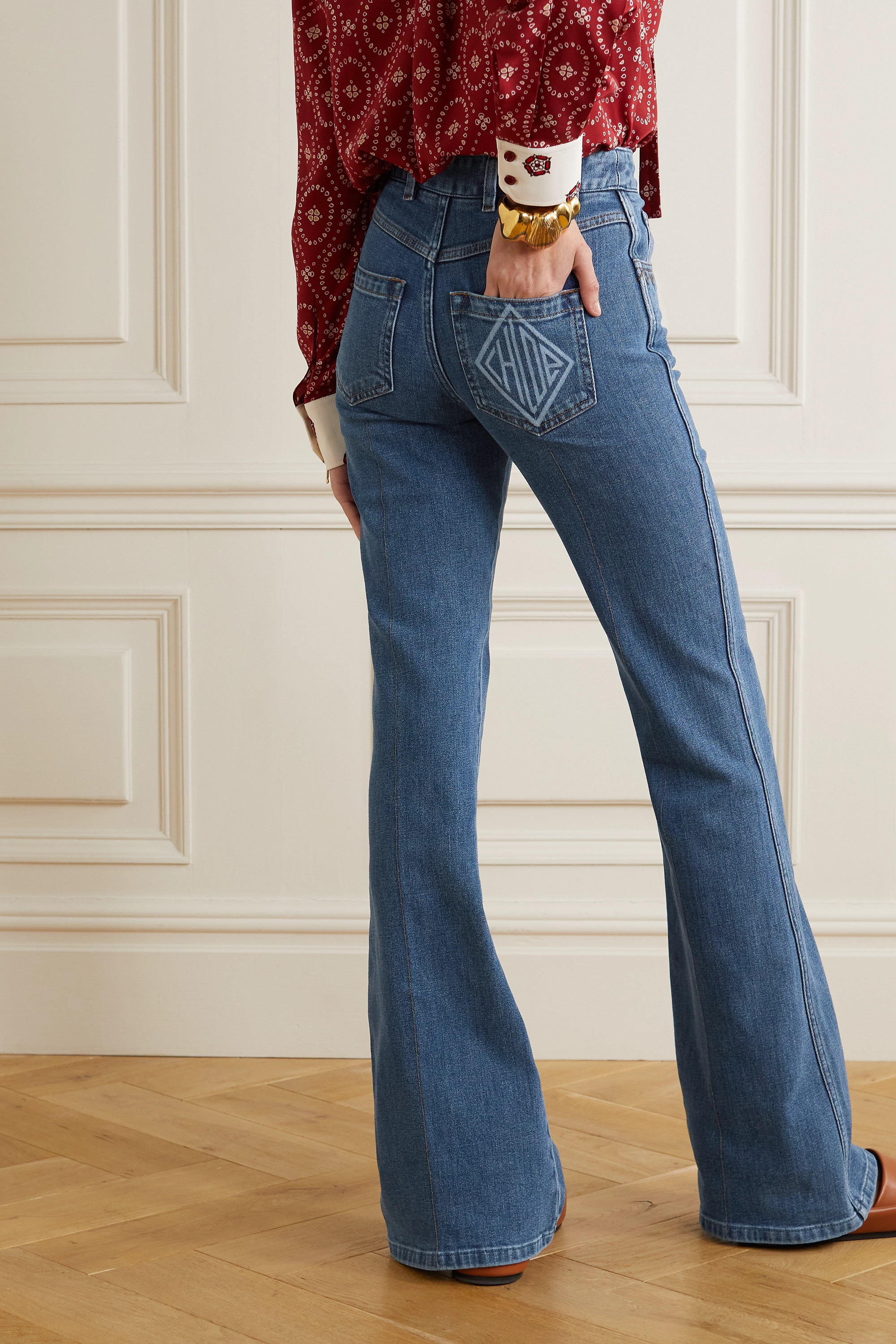 Chloé Printed high-rise flared jeans