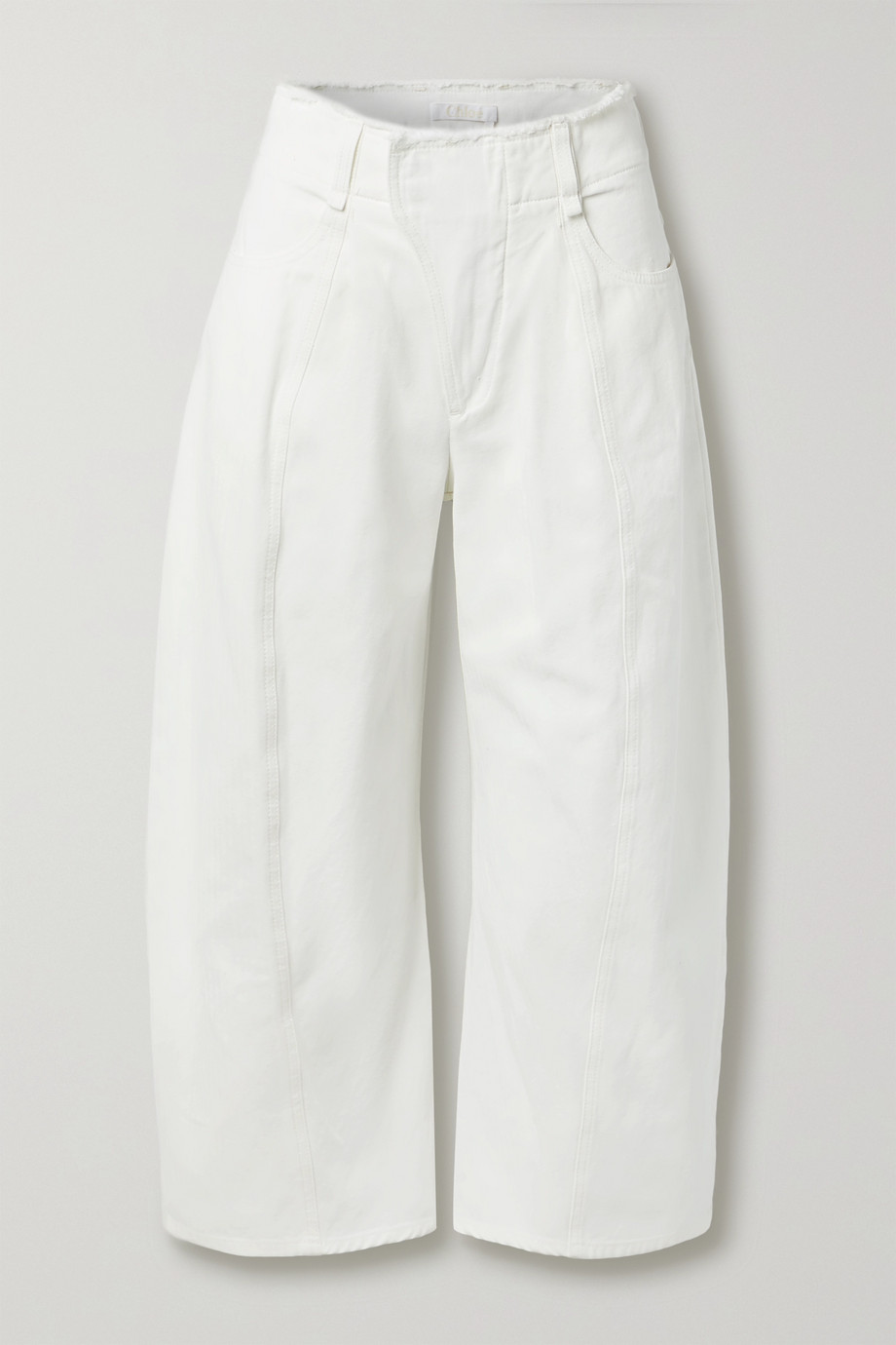 Chloé Frayed high-rise wide-leg jeans