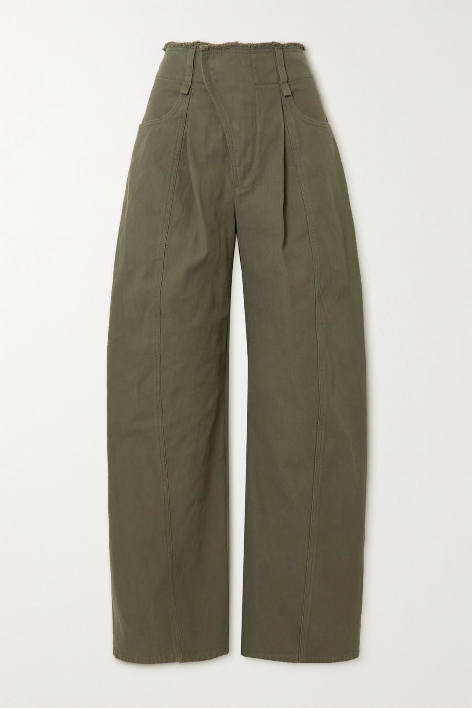 Chloé Pantalon large en coton à chevrons et à franges