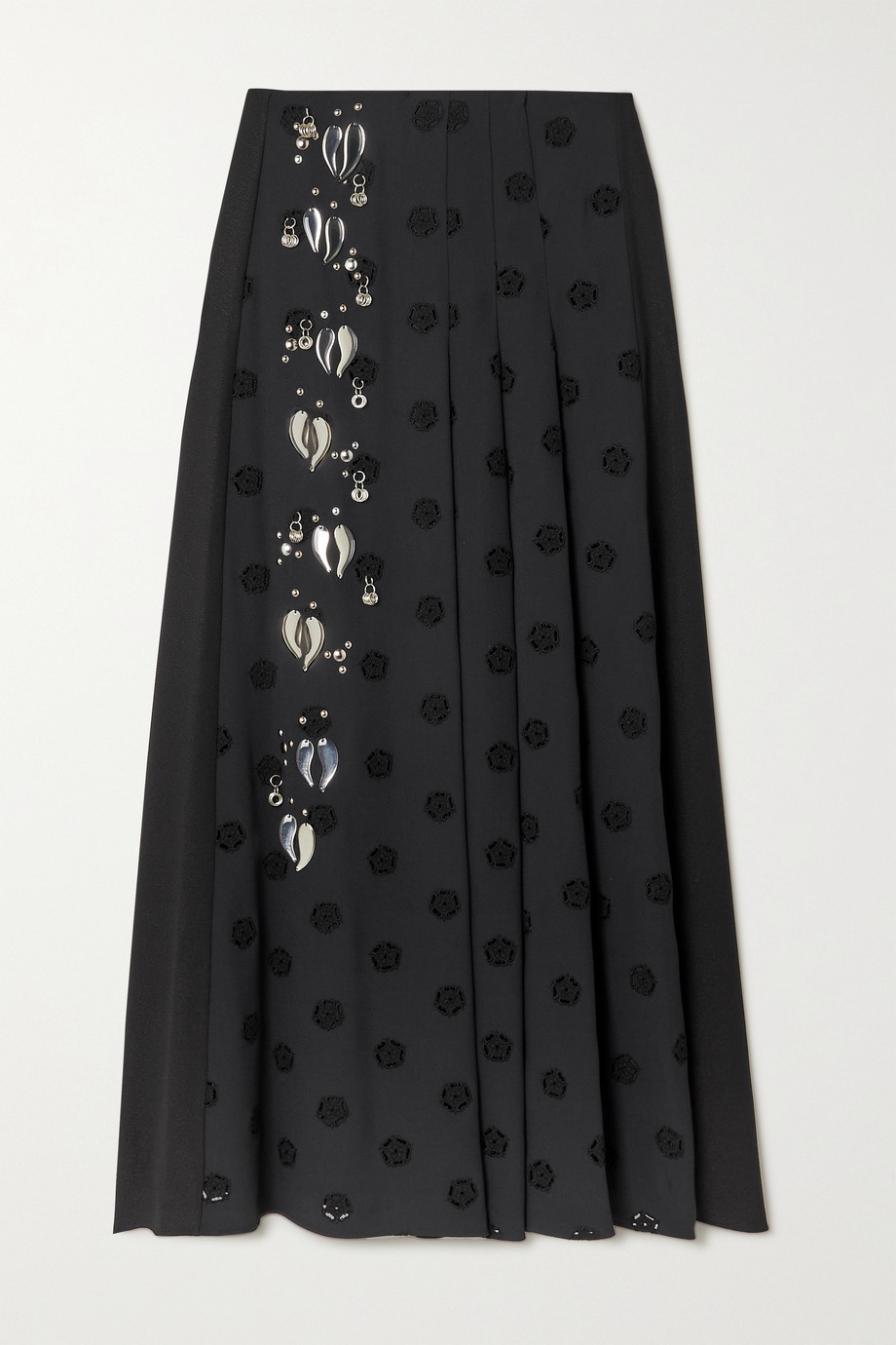 Chloé Embellished pleated broderie anglaise cady midi skirt