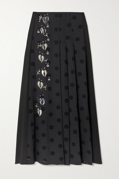 Chloé Midi skirts EMBELLISHED PLEATED BRODERIE ANGLAISE CADY MIDI SKIRT