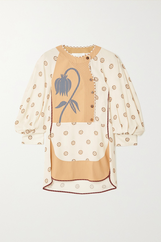 Chloé Appliquéd paneled poplin and printed crepe de chine blouse