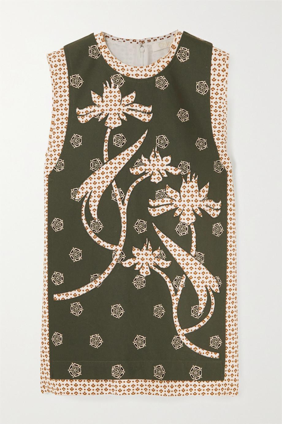 Chloé Appliquéd printed crepe blouse