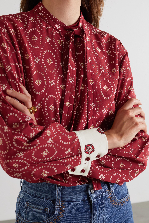 Chloé Tie-detailed printed silk blouse