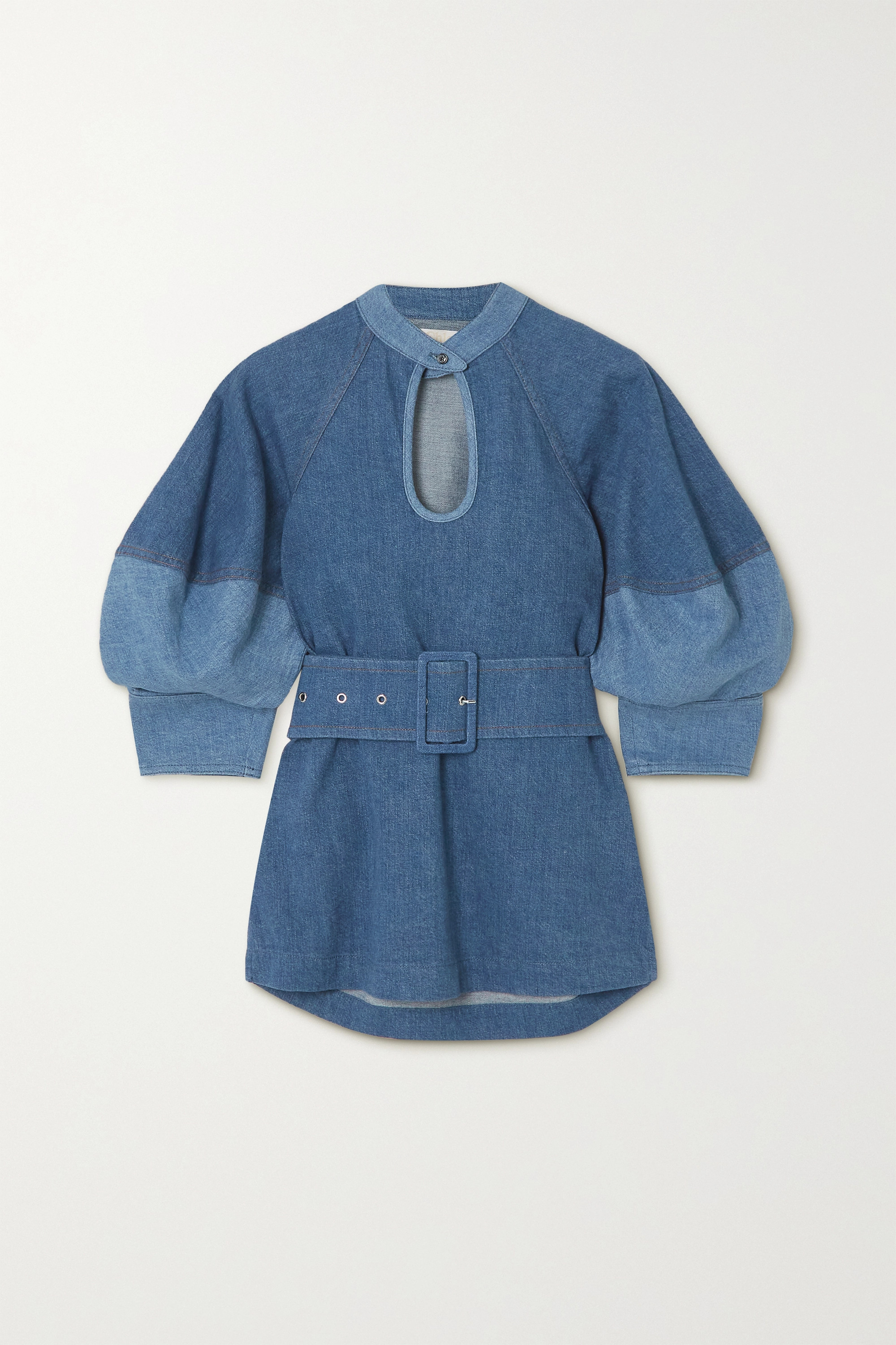 Chloé - Belted two-tone denim blouse