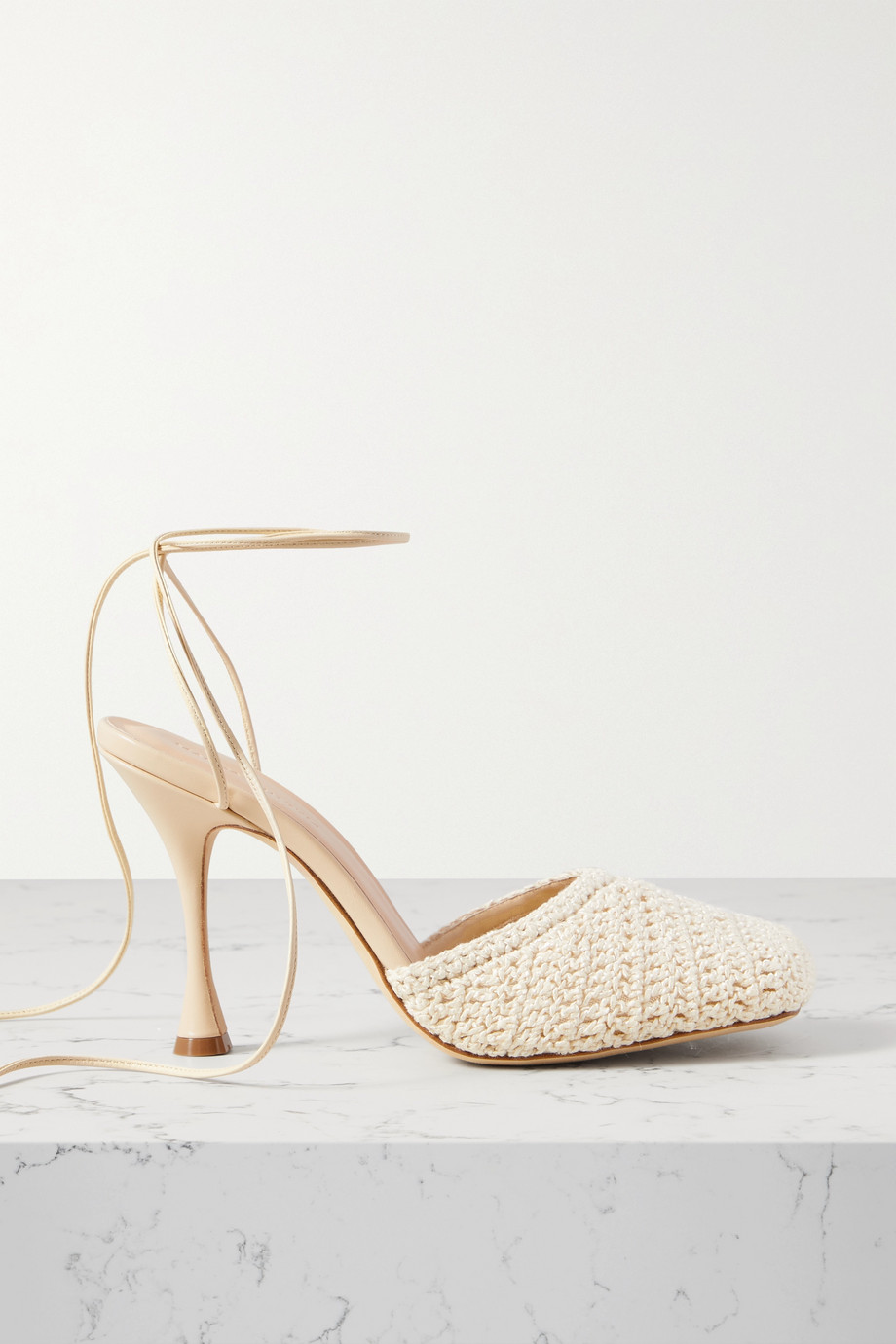 Magda Butrym Leather-trimmed crochet-knit pumps