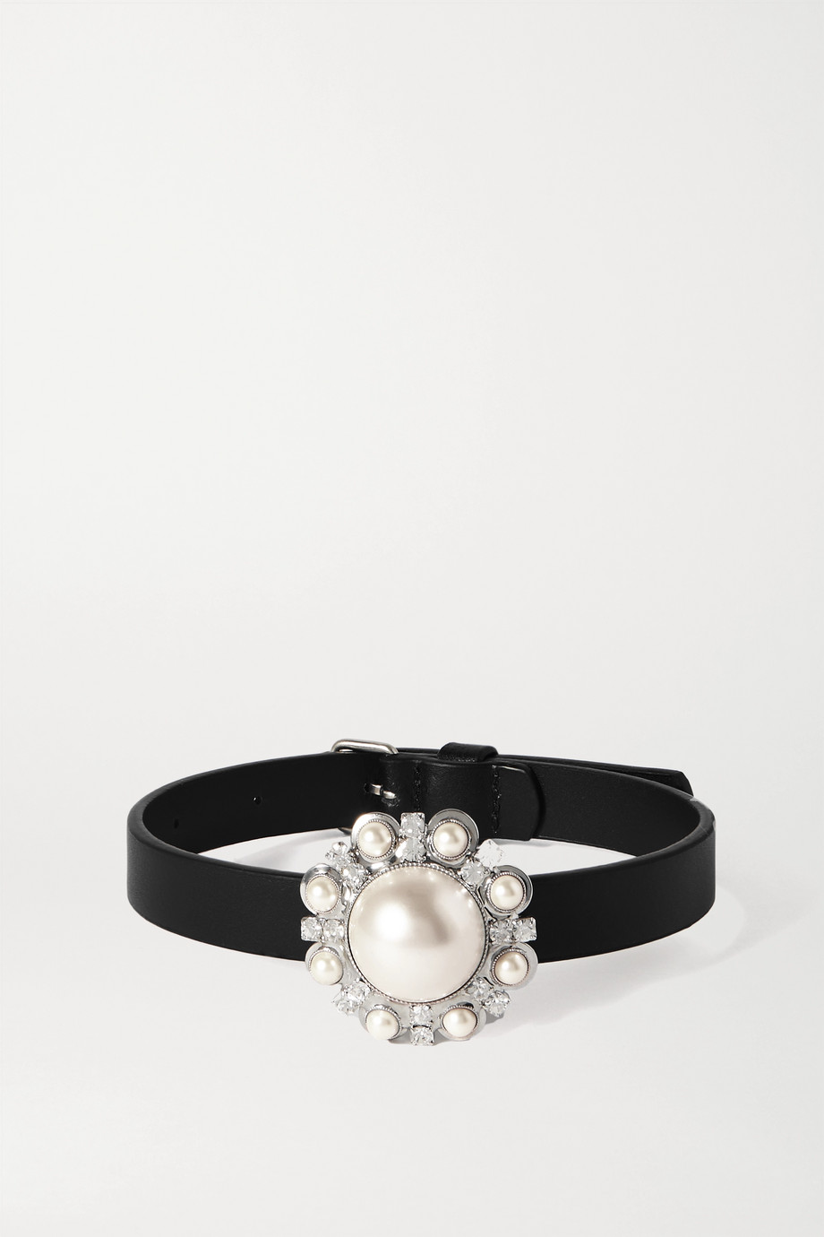 Alessandra Rich Leather, faux pearl and crystal choker
