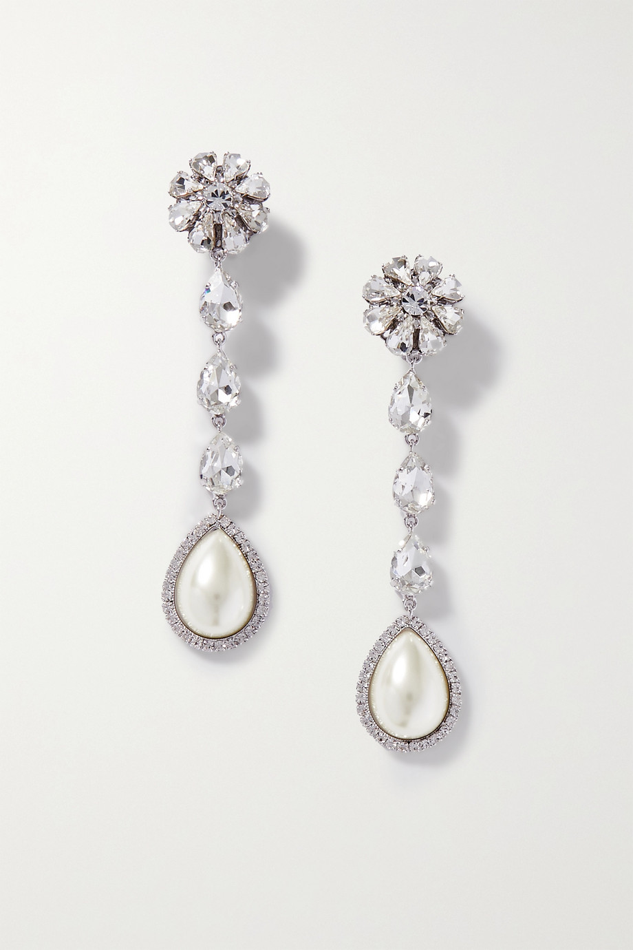 Alessandra Rich Silver-tone, crystal and faux pearl clip earrings
