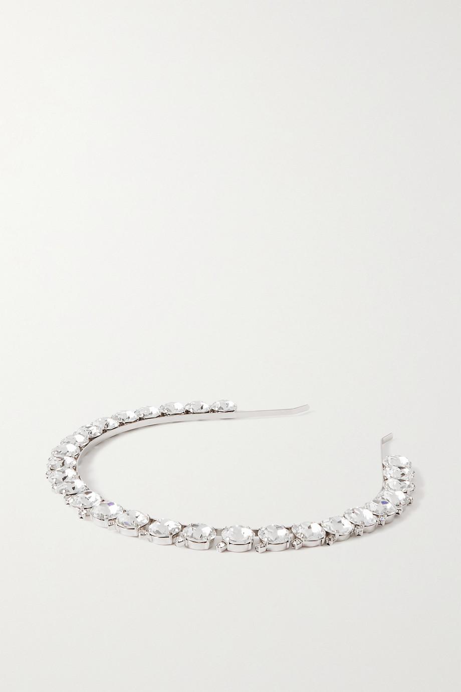 Alessandra Rich Silberfarbener Haarreif mit Kristallen