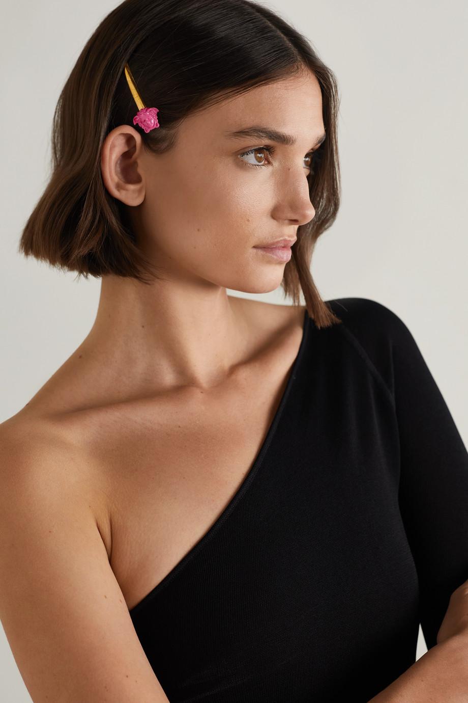 Versace Goldfarbene Haarspange mit Emaille