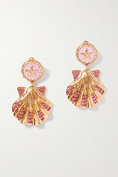 Versace Earrings TRÉSOR DE LA MER GOLD-TONE, ENAMEL AND CRYSTAL EARRINGS