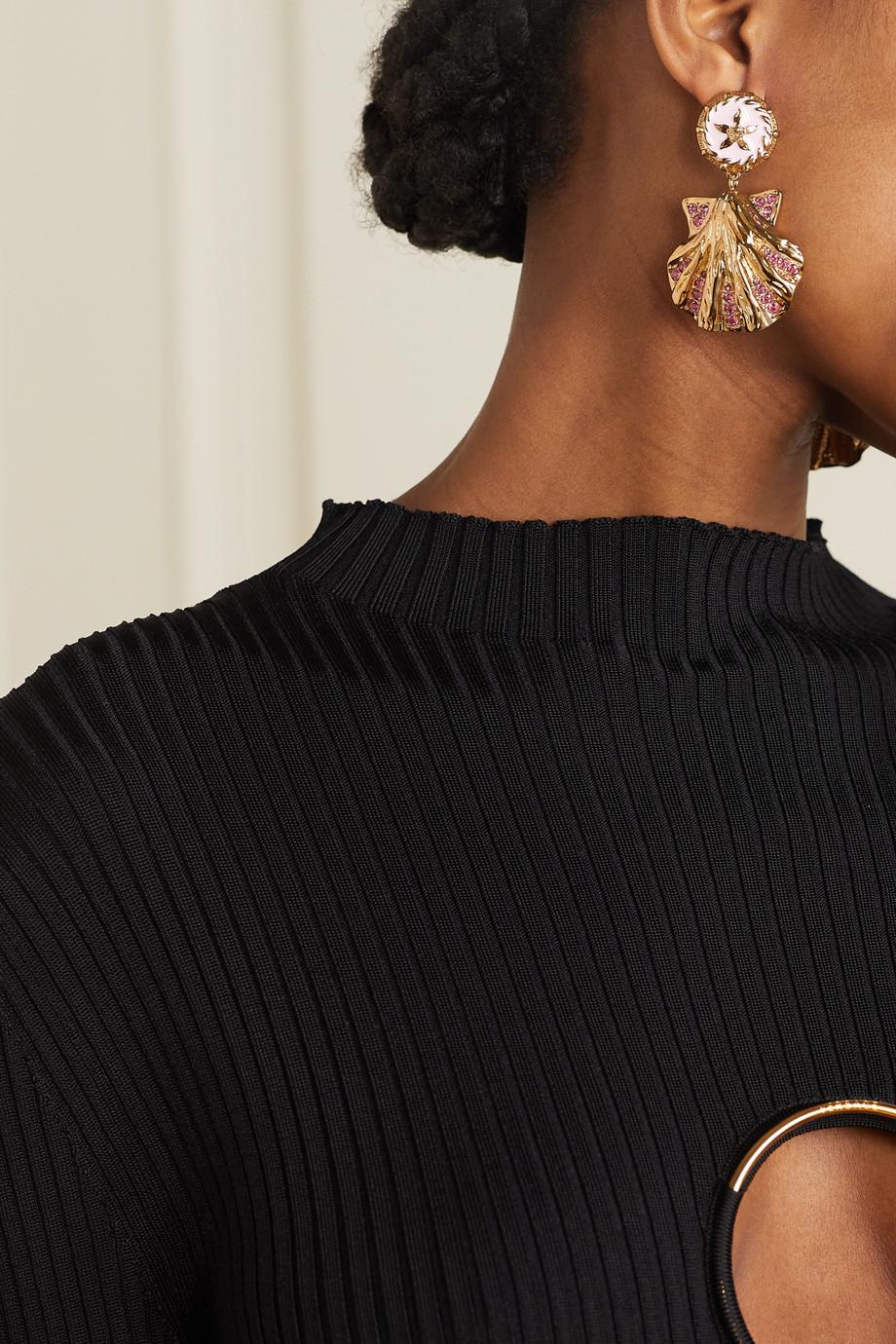 Versace Boucles d'oreilles en métal doré, émail et cristaux Trésor de la Mer