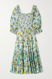 LoveShackFancy Capri tiered shirred floral-print cotton-voile midi dress