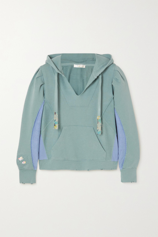 LoveShackFancy Sweat à capuche en jersey de coton à empiècements en molleton effet vieilli Alouette