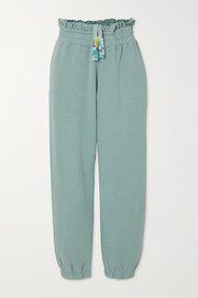 LoveShackFancy Mirabella distressed cotton-jersey track pants
