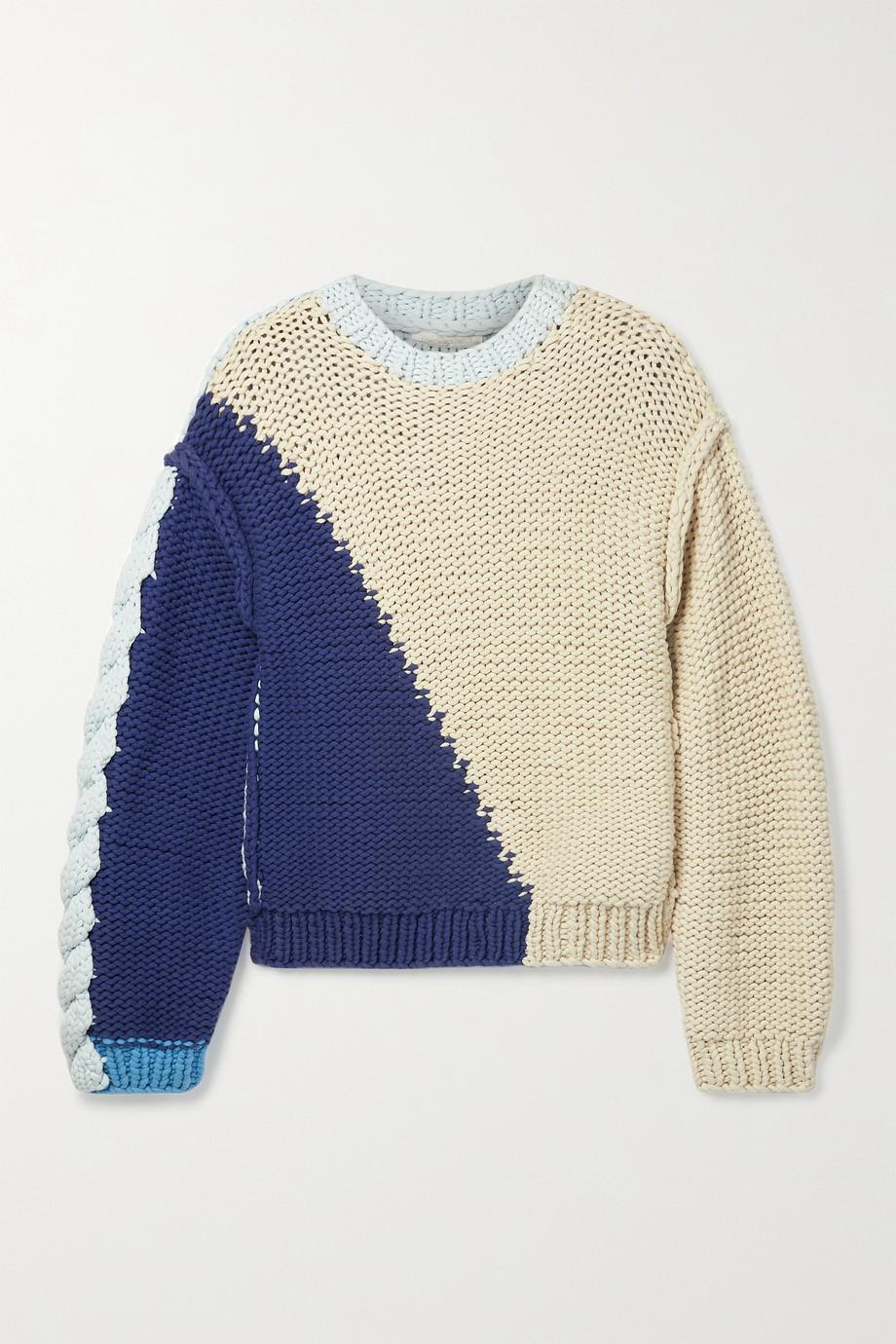 LoveShackFancy Pull oversize en coton mélangé color-block Isaiah