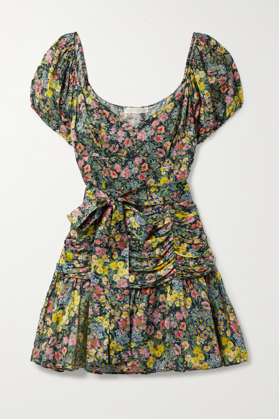 LoveShackFancy Ambrette belted ruched floral-print sateen mini dress