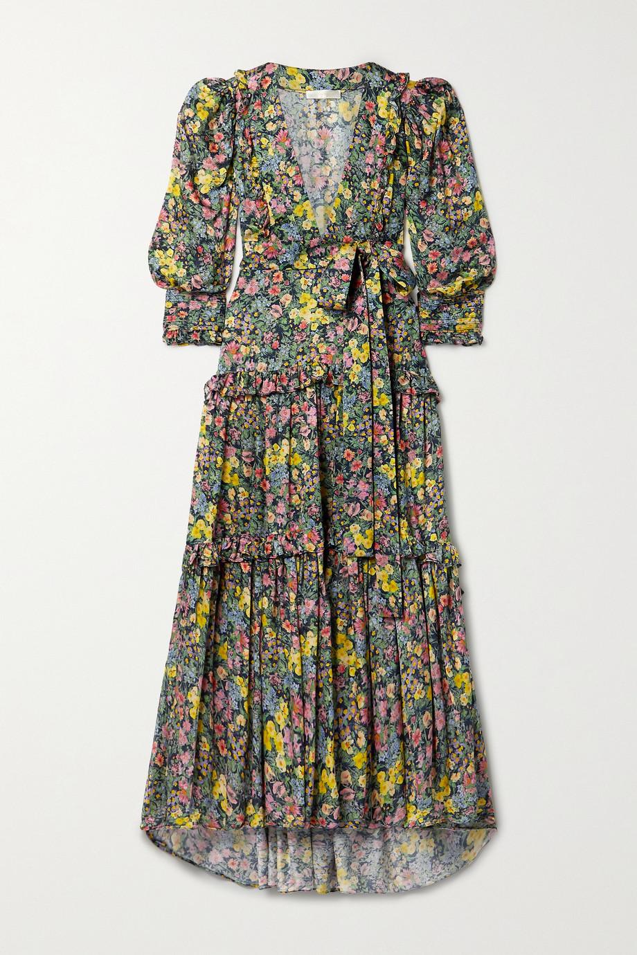 LoveShackFancy Venetian Island belted ruffled floral-print matte-satin maxi dress