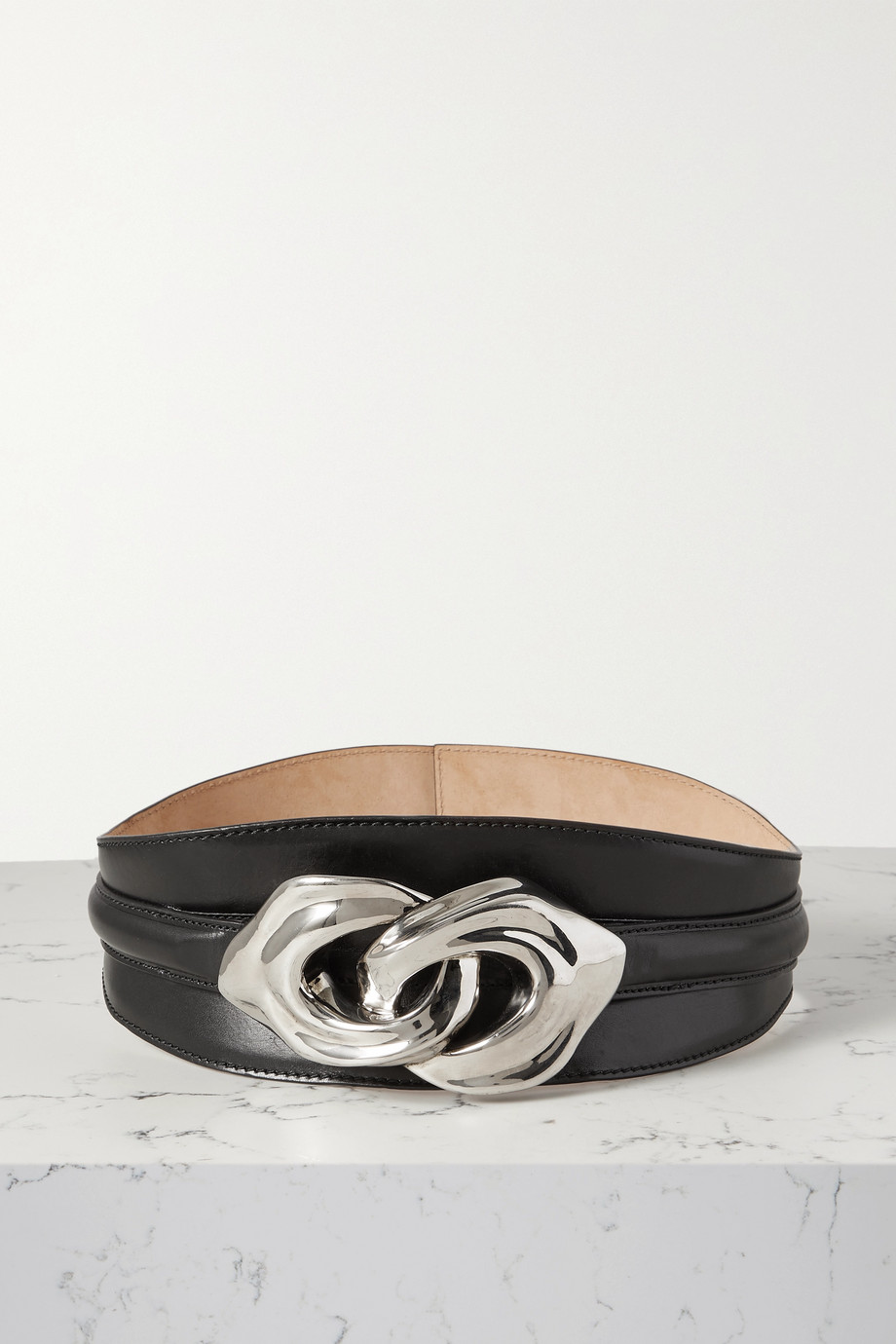 Alexander McQueen Embellished leather waist belt