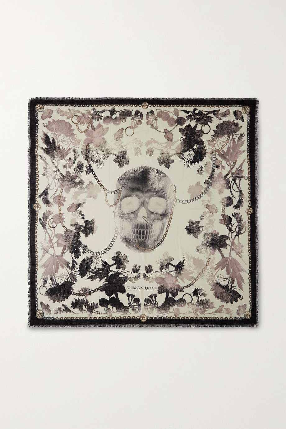 Alexander McQueen Frayed printed wool-twill scarf