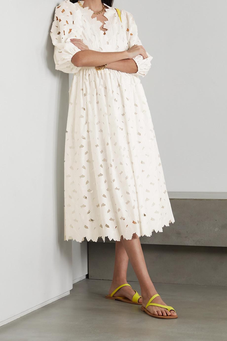 REDValentino Cutout embroidered cotton-poplin midi dress