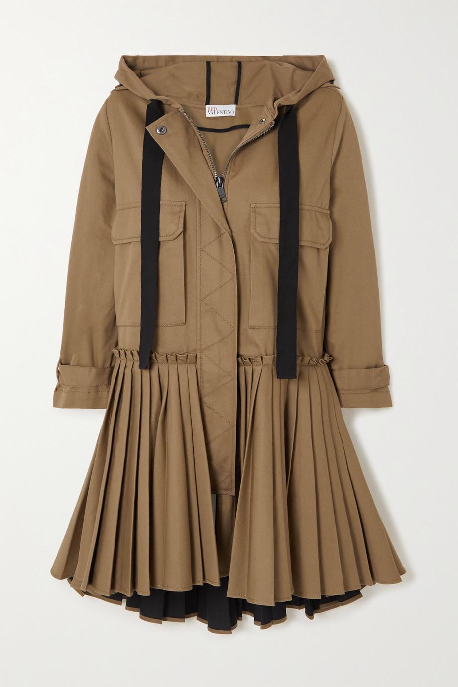 REDValentino Hooded pleated cotton-gabardine coat