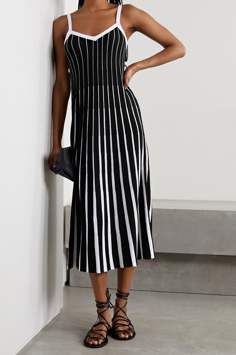 REDValentino Tie-back striped ribbed cotton midi dress