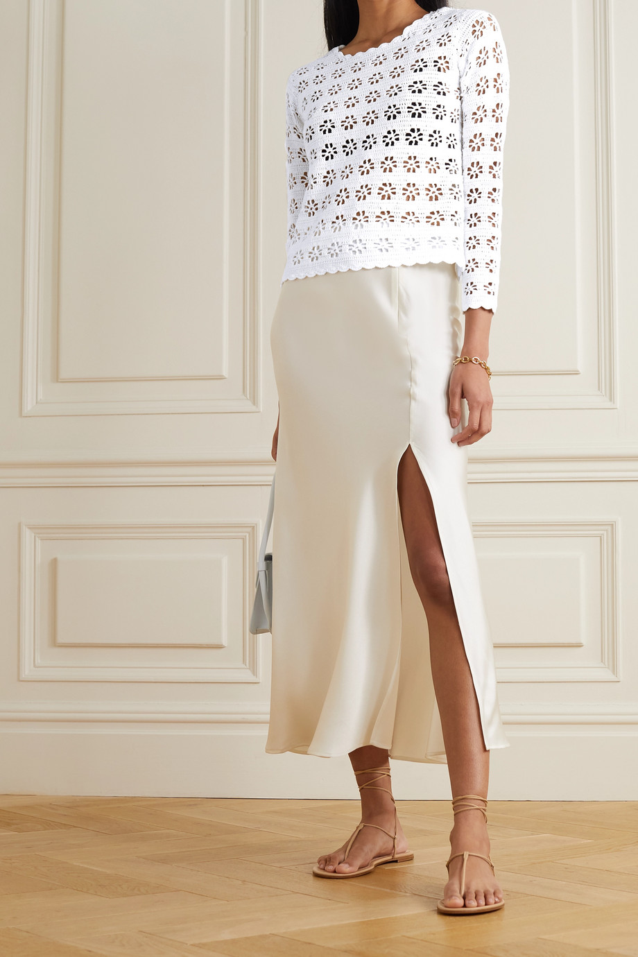 REDValentino Crochet-knit cotton top