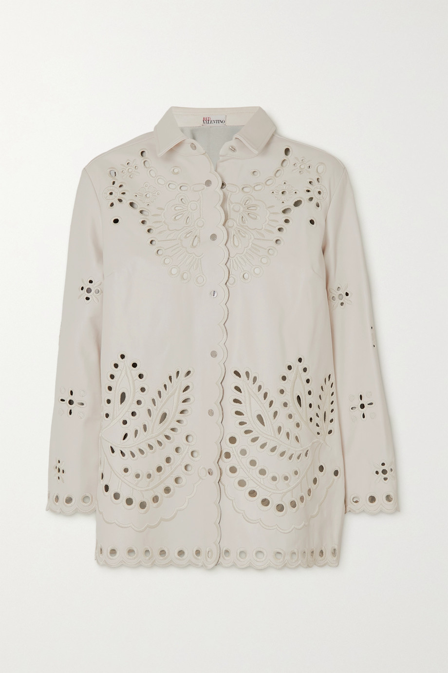 REDValentino Broderie anglaise leather shirt