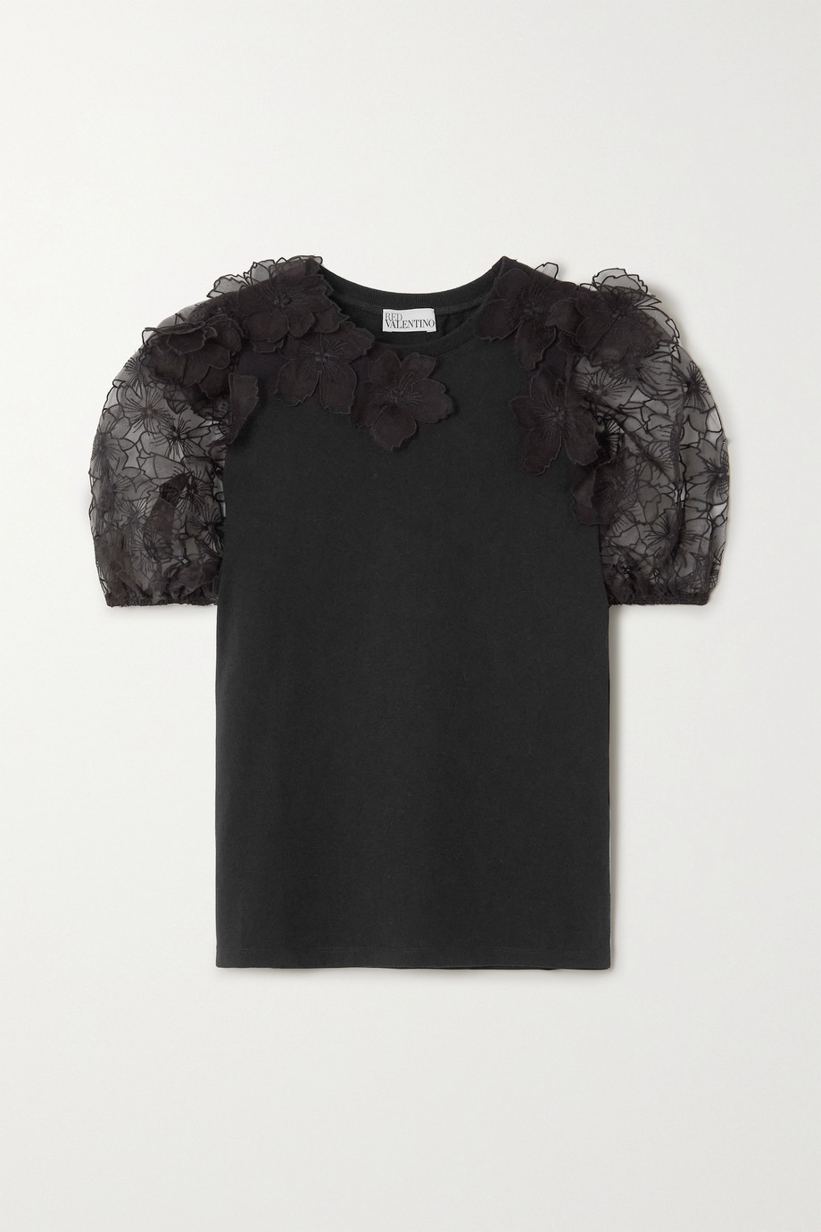 REDValentino Embroidered organza and cotton-jersey T-shirt