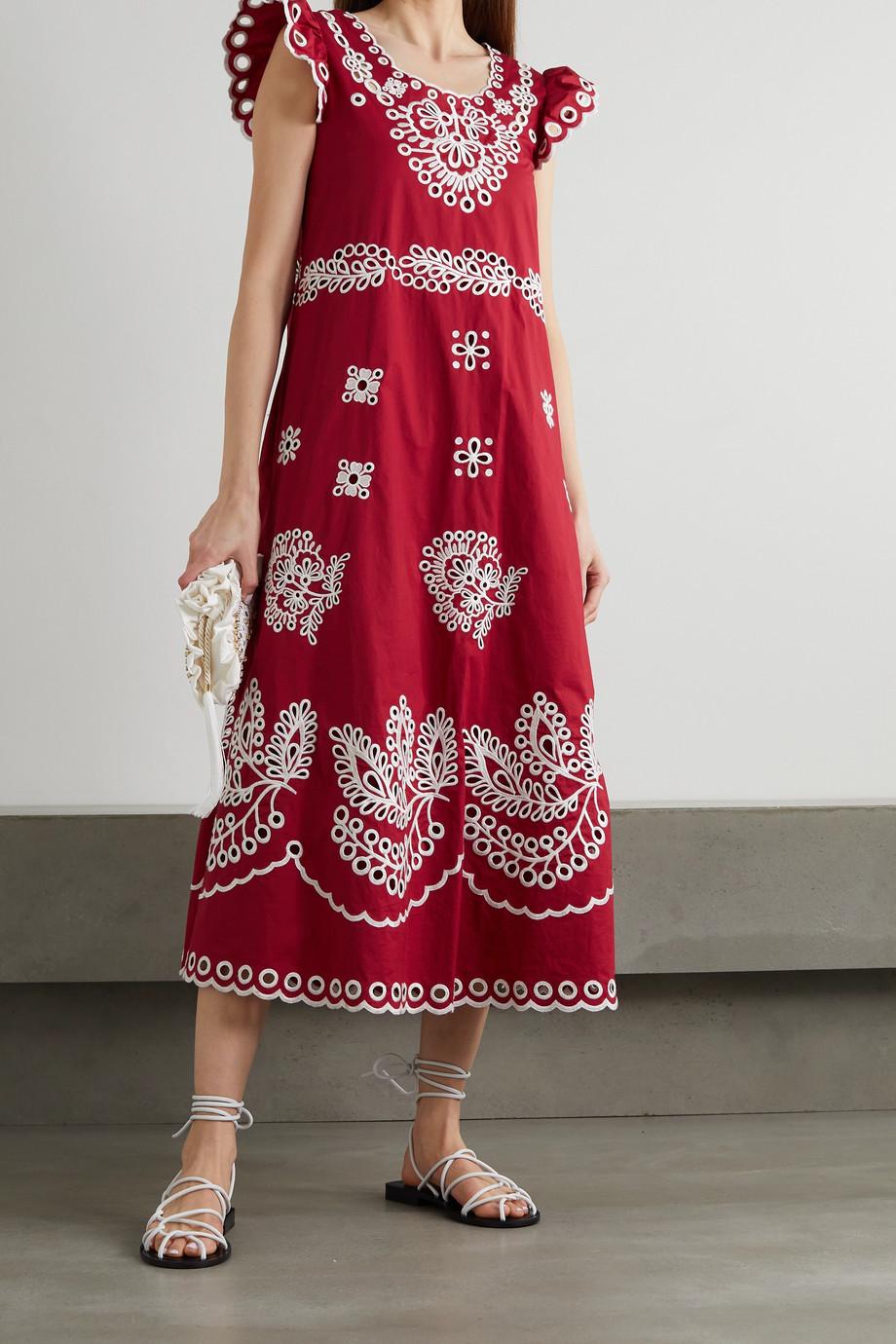 REDValentino Broderie anglaise cotton-poplin midi dress