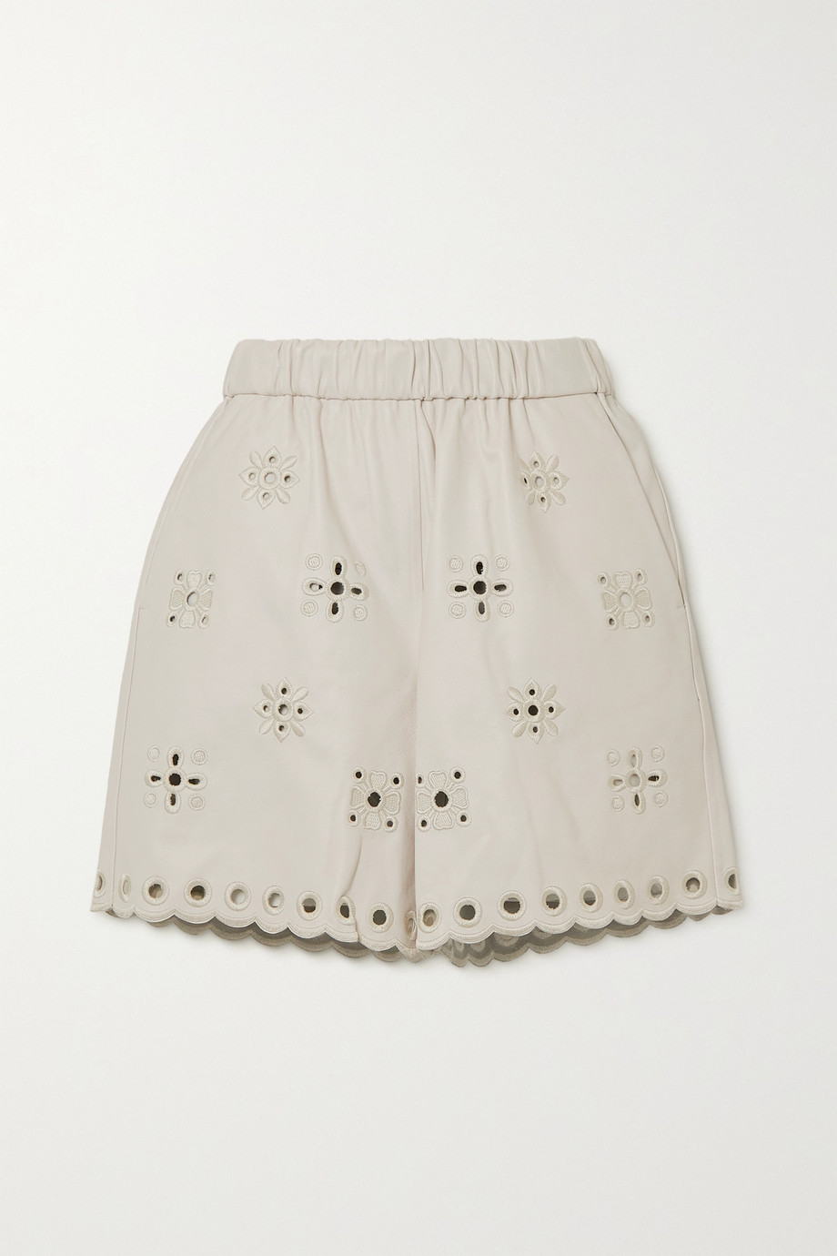REDValentino Broderie anglaise leather shorts