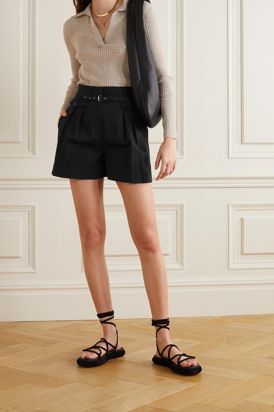 REDValentino Belted pleated stretch-cotton gabardine shorts