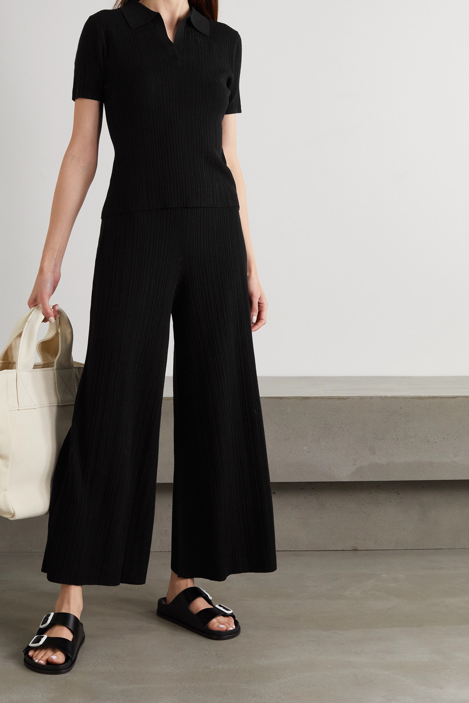 Ninety Percent Cropped ribbed Lyocell-blend wide-leg pants