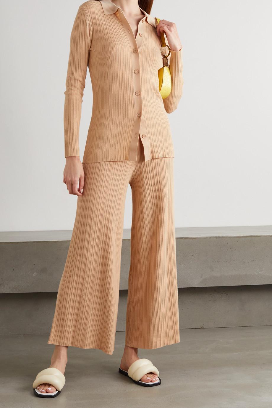 Ninety Percent Pantalon large raccourci en Lyocell mélangé côtelé